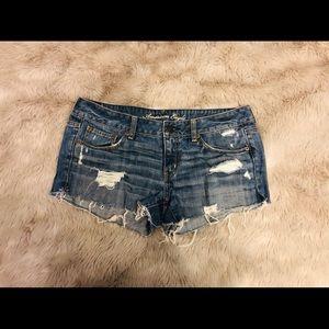 American Eagle Medium Wash Distressed Short Shorts